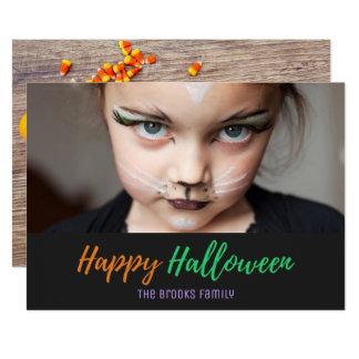 Halloween Cute Skeleton Candy Corn Photo Card