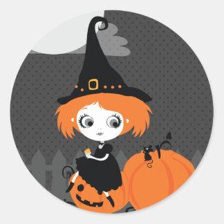 Halloween Cute Witch Orange Pumpkin Sticker