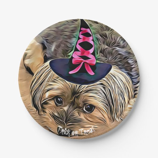 Halloween Cute Yorkshire Terrier with witch hat Paper