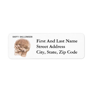 Halloween da Vinci skull sketch Return Address Label