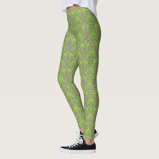 Halloween Damask Pattern Green Purple Art Leggings