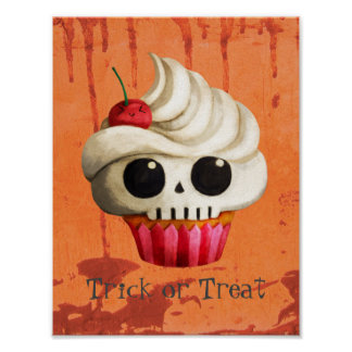 Halloween Deadly Skull Cupcake Poster