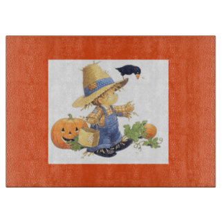 Halloween Decorative Glass Cutting Board/Scarecrow Cutting Board