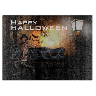 Halloween Decorative Glass Cutting Board/Skeleton Cutting Board