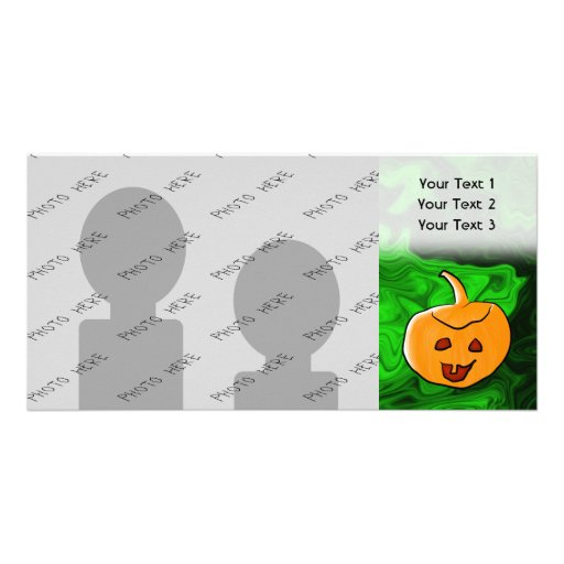 Halloween Design in Green and Orange with Pumpkin Photo Greeting Card