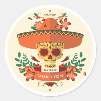 Halloween. Dia De Los Muertos. Sugar Skulls. Classic Round Sticker
