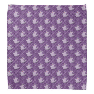 Halloween Diva Ghost on Diagonal Purple Tiles Bandana