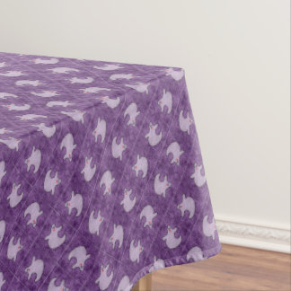 Halloween Diva Ghost on Diagonal Purple Tiles Tablecloth