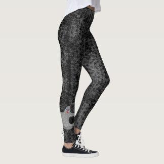 Halloween Diva Ghost Spookaliza on Black Texture Leggings