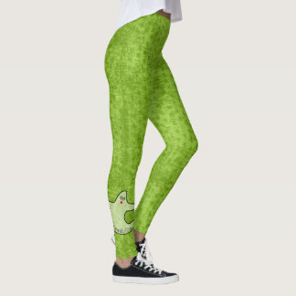 Halloween Diva Ghost Spookaliza on Green Texture Leggings