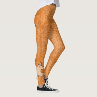 Halloween Diva Ghost Spookaliza on Orange Texture Leggings