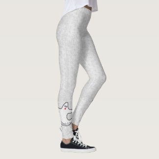 Halloween Diva Ghost Spookaliza on White Texture Leggings