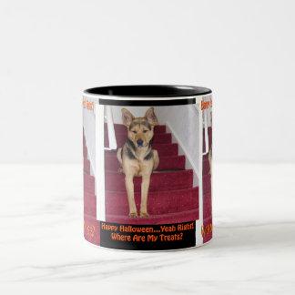 Halloween Dog and No Treats Two-Tone Mug