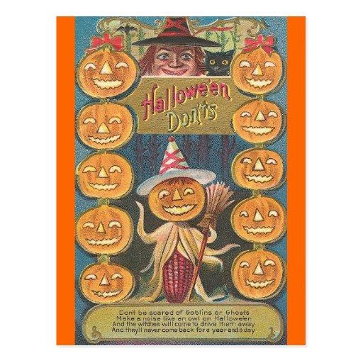 halloween don'ts postcard