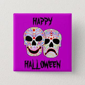 Halloween DOTD Comedy-Tragedy Skulls 15 Cm Square Badge