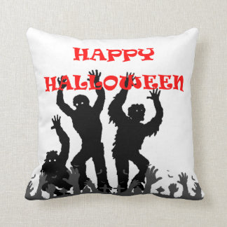 Halloween drooling zombie throw pillow