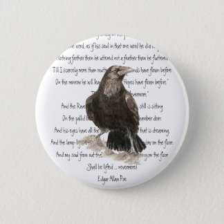 Halloween, Edgar Allen Poe, Raven, Nevermore 6 Cm Round Badge