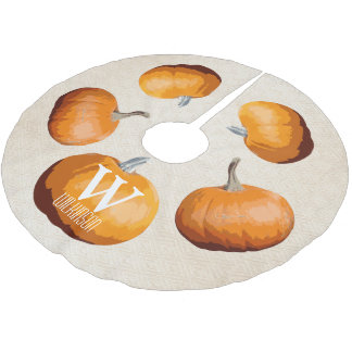 Halloween Elegant Harvest Pumpkins - Personalized Brushed Polyester Tree Skirt
