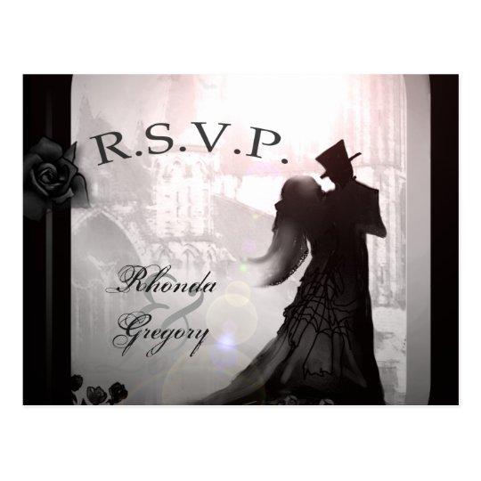 Halloween Elegant Lovers Black MENU Matching RSVP Postcard