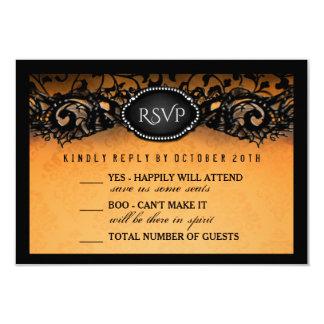 Halloween Elegant Orange Black 3.5x5 Wedding RSVP Card