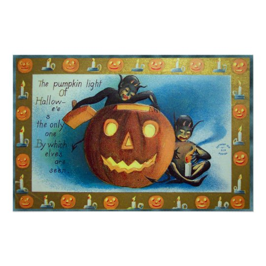 Halloween elves and pumpkin Vintage party poster
