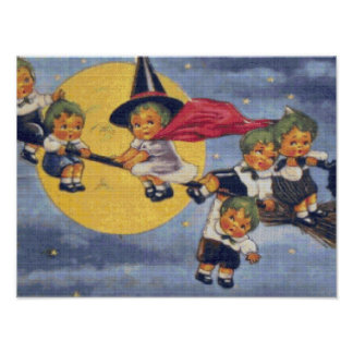 Halloween Elves Cross Stitch Poster
