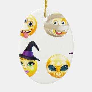 Halloween Emoticon Icon Set Ceramic Oval Decoration