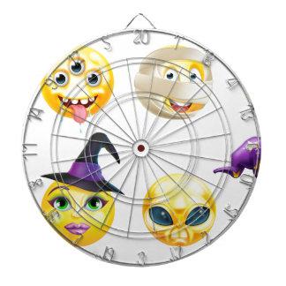 Halloween Emoticon Icon Set Dartboard With Darts