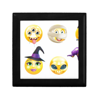 Halloween Emoticon Icon Set Small Square Gift Box