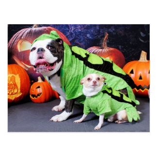 Halloween English Bulldog Spike - Chihuahua Gizmo Postcard