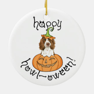 Halloween English Springer Spaniel Round Ceramic Decoration