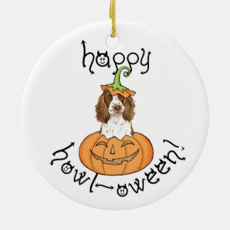 Halloween English Springer Spaniel Round Ceramic Decoration