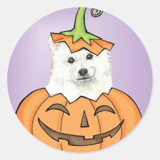 Halloween Eskie Round Sticker