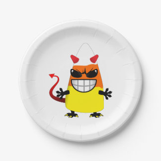 Halloween Evil Candy Corn 7 Inch Paper Plate