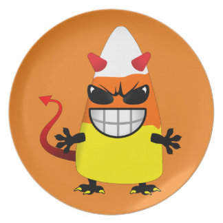 Halloween Evil Candy Corn Dinner Plates
