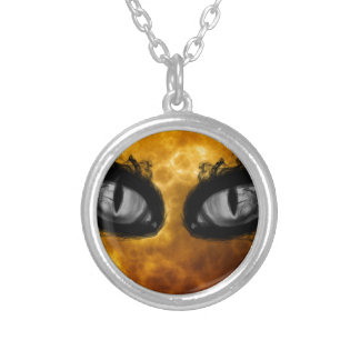Halloween evil eyes silver plated necklace