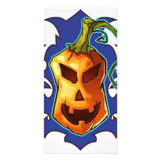 Halloween Evil Scary Pumpkin Personalised Photo Card