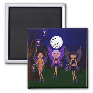 Halloween Faeries The Hallow Sisters Square Magnet