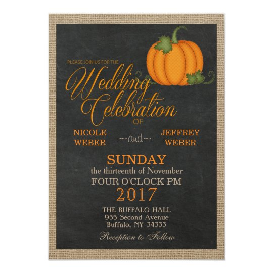 Halloween Fall Autumn Pumpkin Country Barn Wedding Card