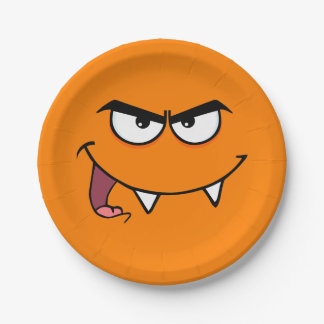 Halloween Fangs Monster Smiley Face 7 Inch Paper Plate