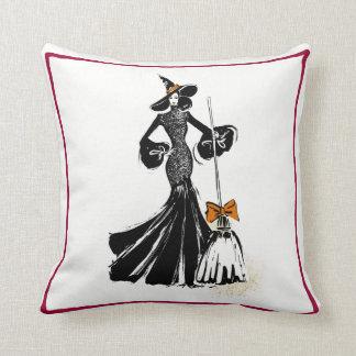 halloween fashion illustration with black lace cushion