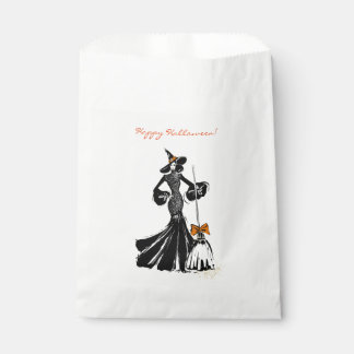 halloween fashionillustration with a broom favour bags