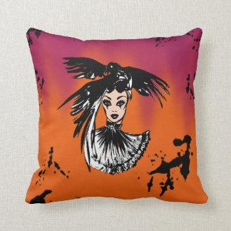 halloween fashonillustration with ravens cushion