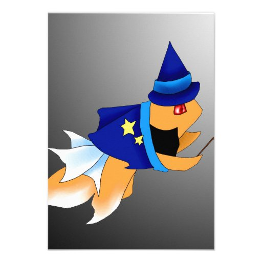 Halloween Fish Wizard Invitation Card