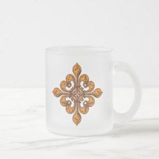 Halloween Fleur de lis Frosted Glass Mug