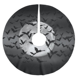 Halloween Flying Bats and a Full Moon Brushed Polyester Tree Skirt