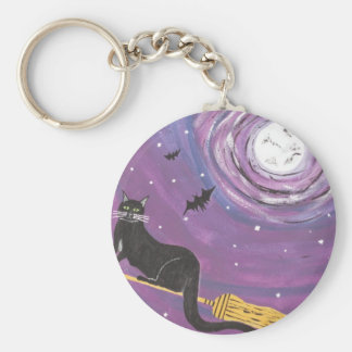 Halloween Flying Black Cat Basic Round Button Key Ring