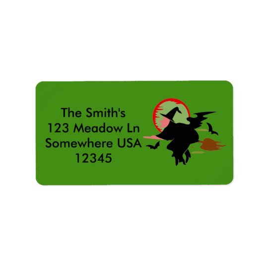 Halloween Flying Witch Address Label