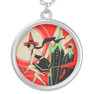 Halloween Flying Witch art nouveau vintage Round Pendant Necklace