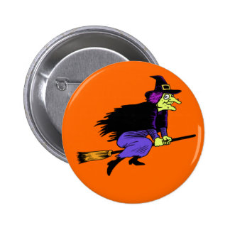 Halloween Flying Witch Buttons